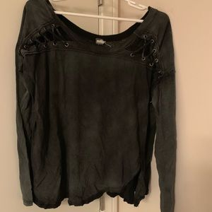 New Free People Black Cross Long Sleeve